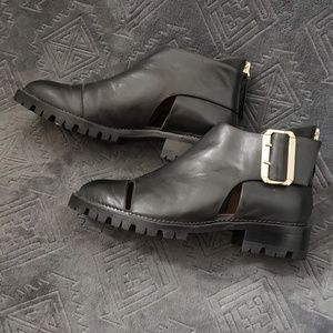 Jeffrey Campbell leather cutout ankle booties